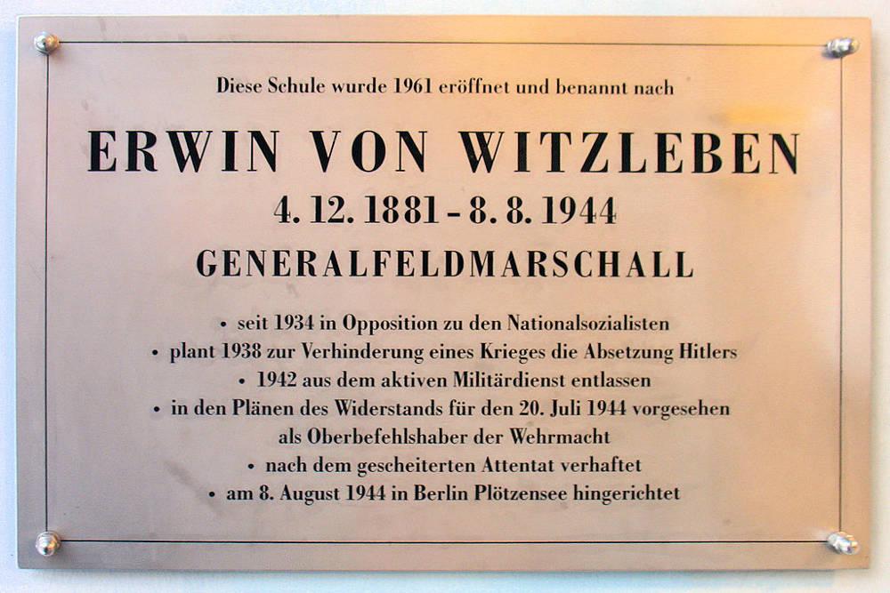 Plaque Erwin von Witzleben
