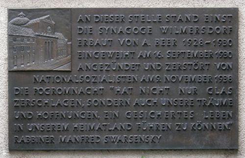 Plaque Synagogue Wilmersdorf