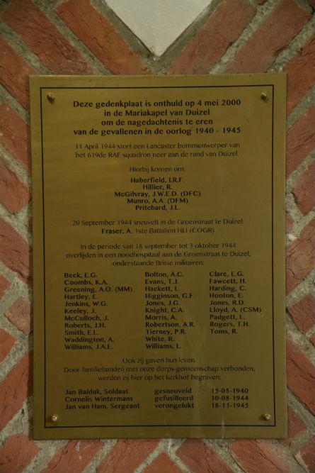 Plaquette Kapel Duizel