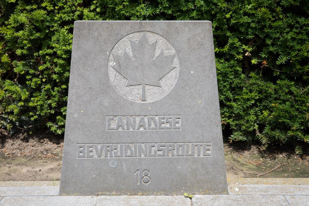 Wegmarkering nr. 18 Canadese Bevrijdingsroute