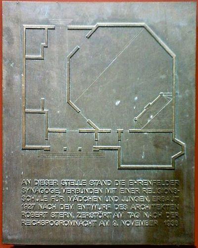 Plaque Synagoge Ehrenfeld