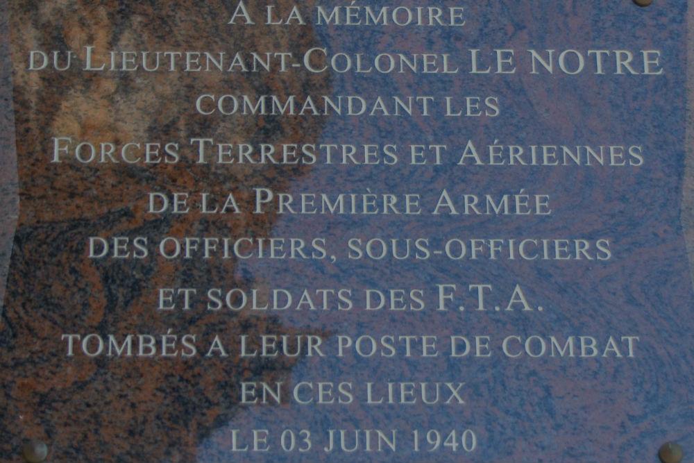 Plaque Lieutenant Colonel Le Notre Fort des Dunes Leffrinckoucke