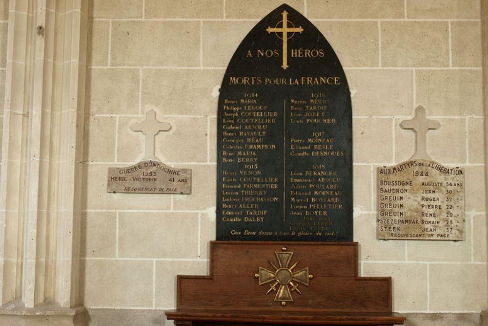 War Memorial Vieilles-Maisons-sur-Joudry Church