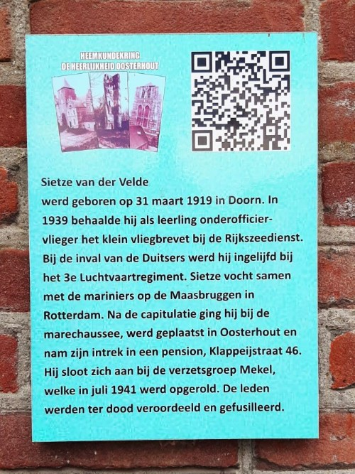 Plaque Resistance Fighter Sietze van der Velde