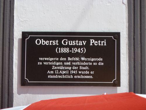 Plaque Oberst Gustav Petri