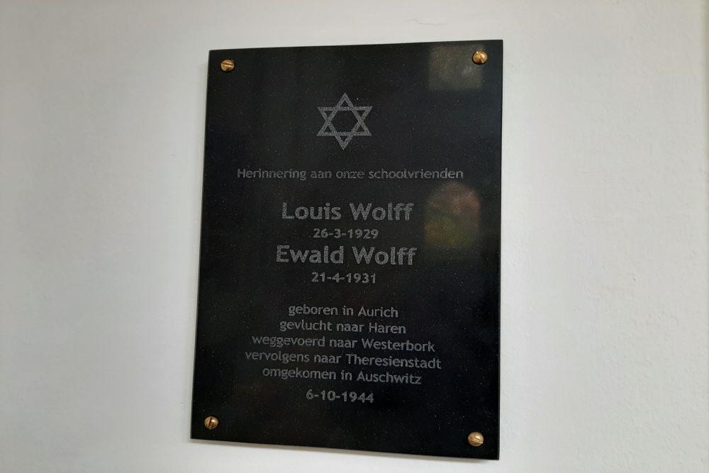 Herdenkingsplaquette Louis en Ewald Wolff