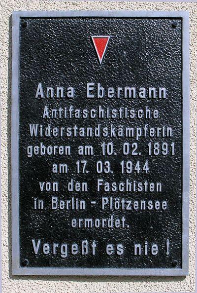 Plaque Anna Ebermann