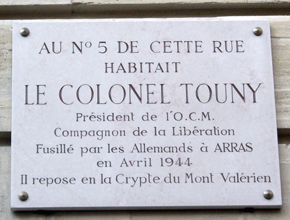 Plaque Colonel Alfred Touny