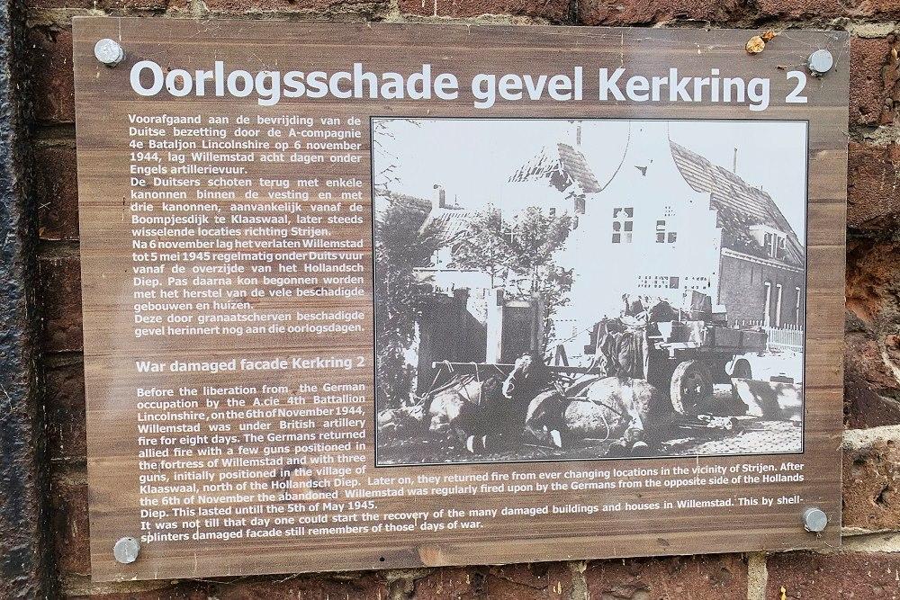 Plaquette Oorlogsschade Gevel Kerkring 2 Willemstad