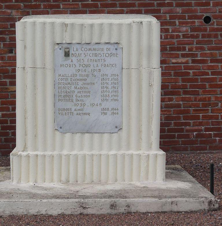 War Memorial Bray-Saint-Christophe