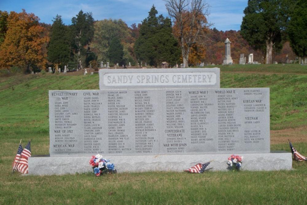 Monument Begraven Veteranen Sandy Spring Cemetery