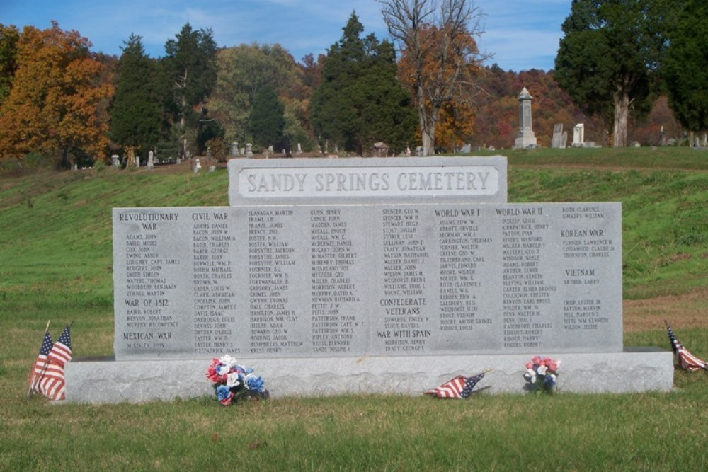 Memorial Buried veteran Sandy Spring Cemetery