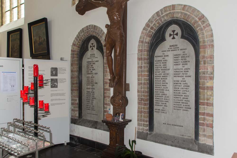 Commemorative plaque Civilian Victims Sint-Niklaaskerk Veurne