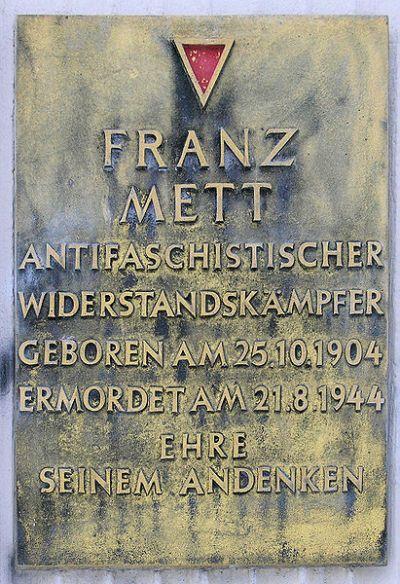 Plaque Franz Mett