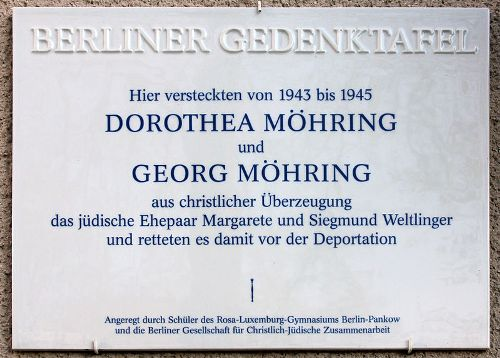 Plaque Dorothea and Georg Möhring