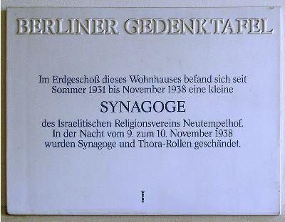 Plaque Synagogue Neu-Tempelhof