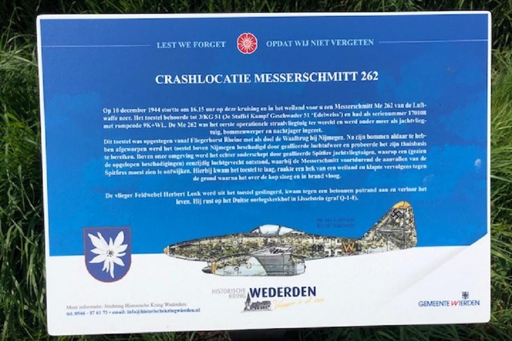 Crashlocatie Messcherschmitt 262 Voorbroekseweg Wierden
