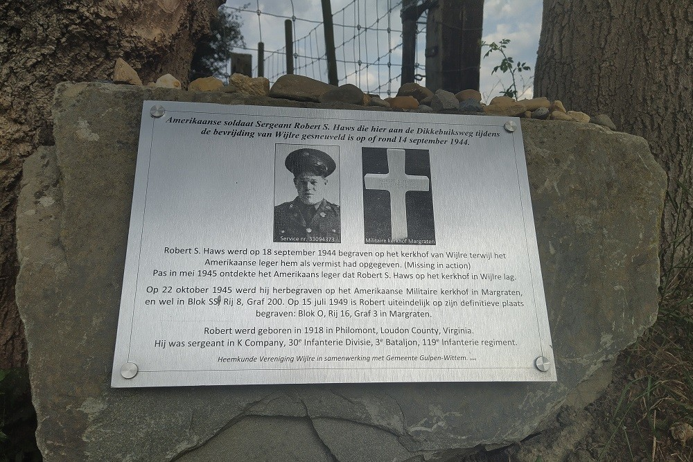 Memorial Stone Sgt. Robert S. Haws Wijlre