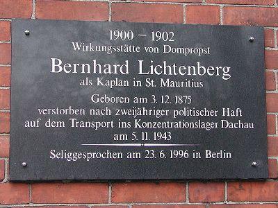 Plaque Bernhard Lichtenberg