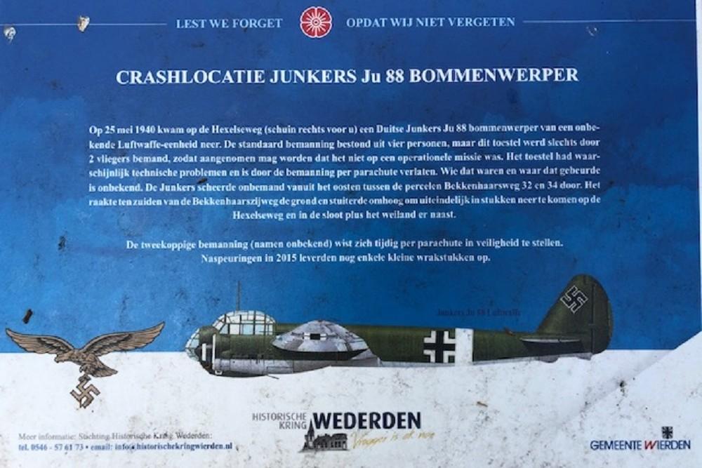 Crashlocatie Junkers JU 88 Hexelseweg Wierden