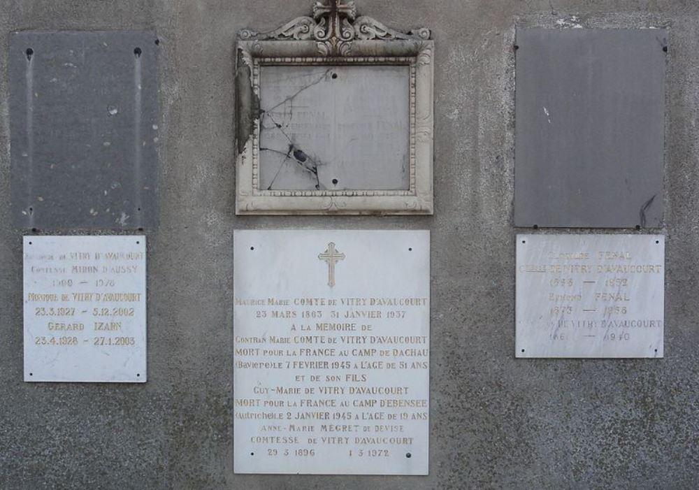 Plaque Members Vitry D'Avaucourt Family