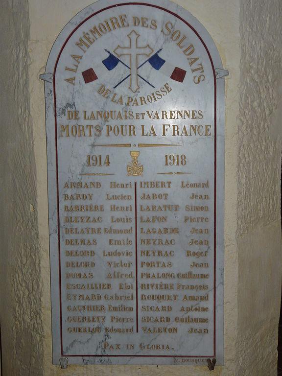World War I Memorial Parish of Lanquais and Varennes