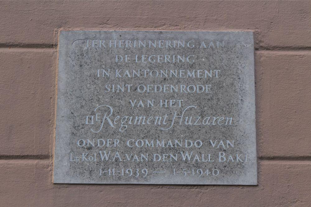 Plaque Mobilization of the Dutch 2nd Regiment Hussars Sint-Oedenrode