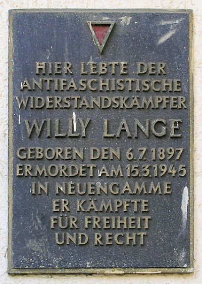 Plaque Willy Lange