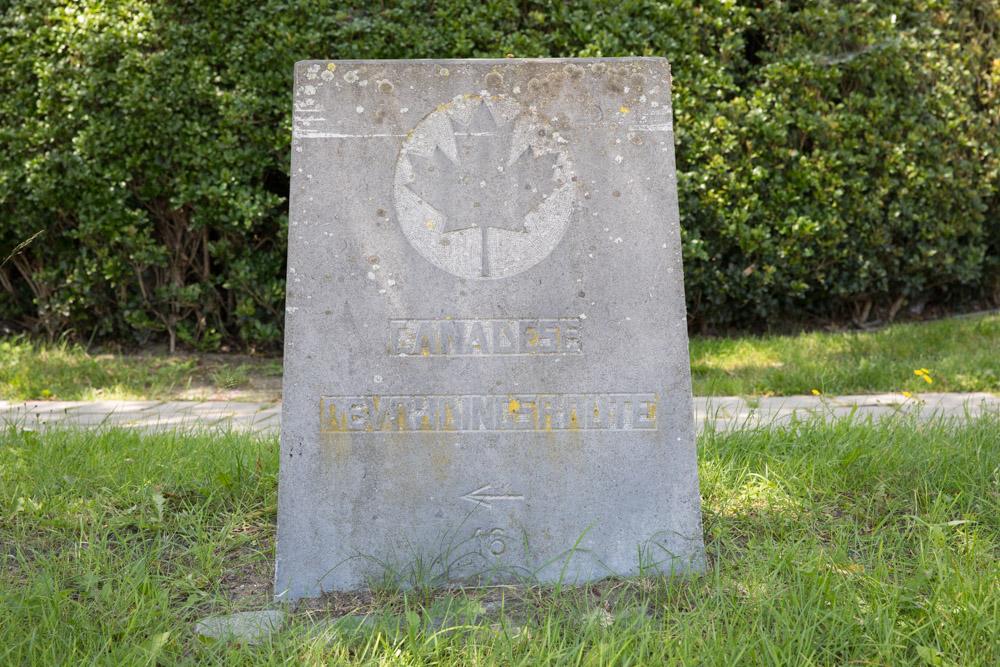 Wegmarkering nr. 16 Canadese Bevrijdingsroute