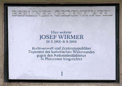 Plaque Josef Wirmer