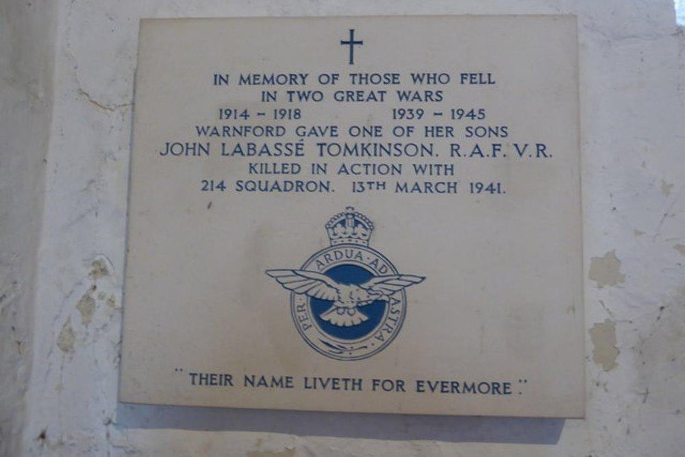 Plaque John Labasse Tomkinson