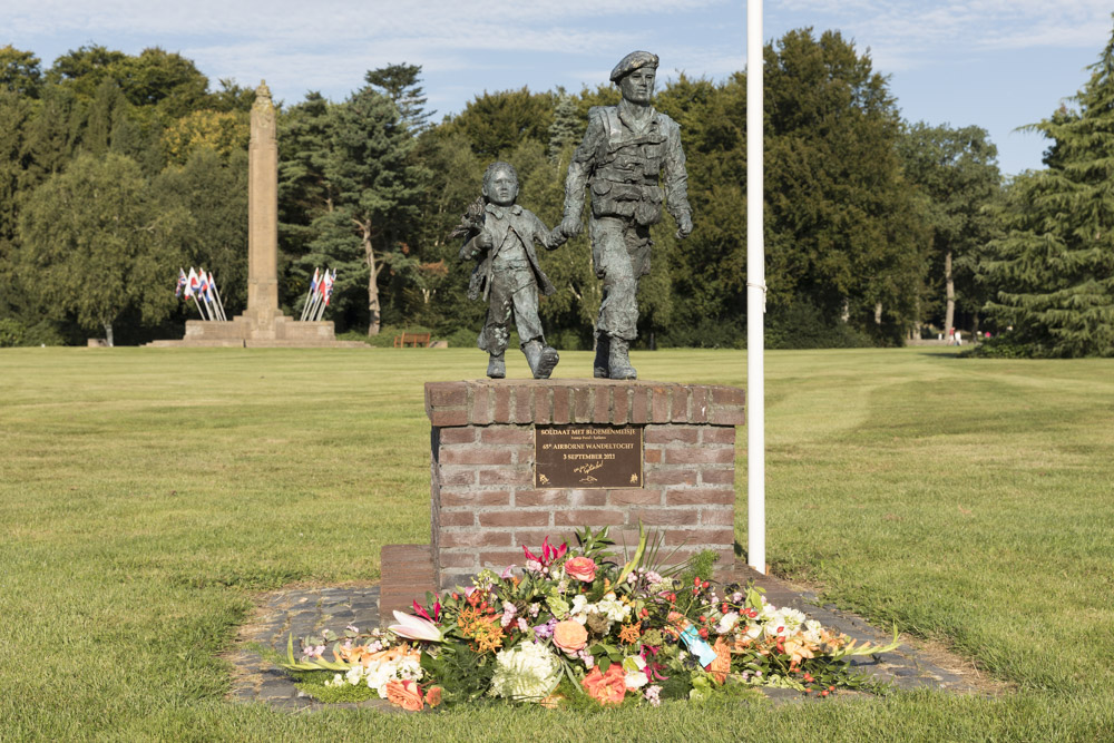 Memorial Soldier with Flower Girl