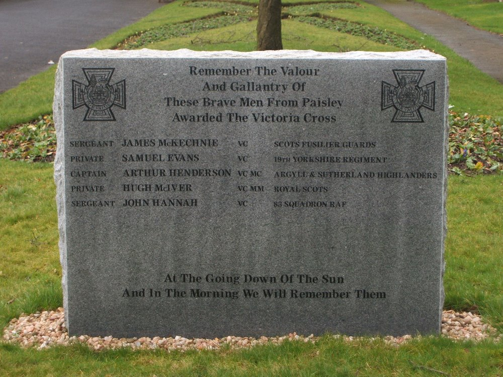 Memorial Victoria Cross Receivers Paisley