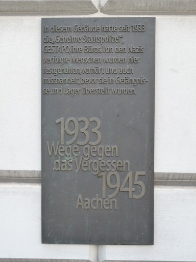 Plaque Gestapo Building