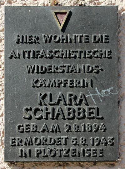 Plaque Klara Schabbel