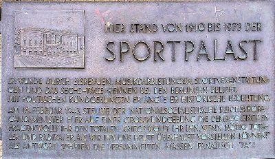 Plaquette Berliner Sportpalast