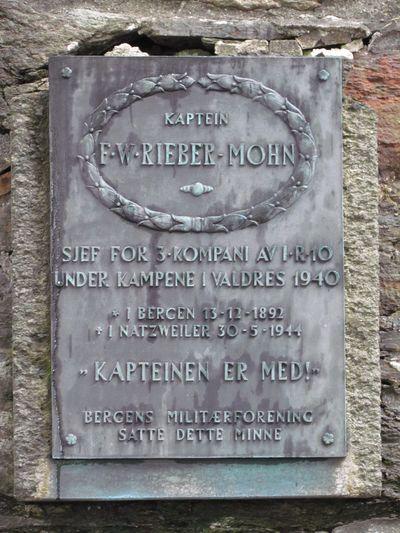 Plaque Captain F.W. Rieber Mohn Bergen