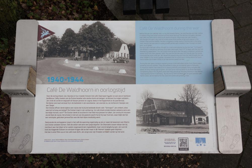 Informatiebord Café de Waldhoorn in oorlogstijd