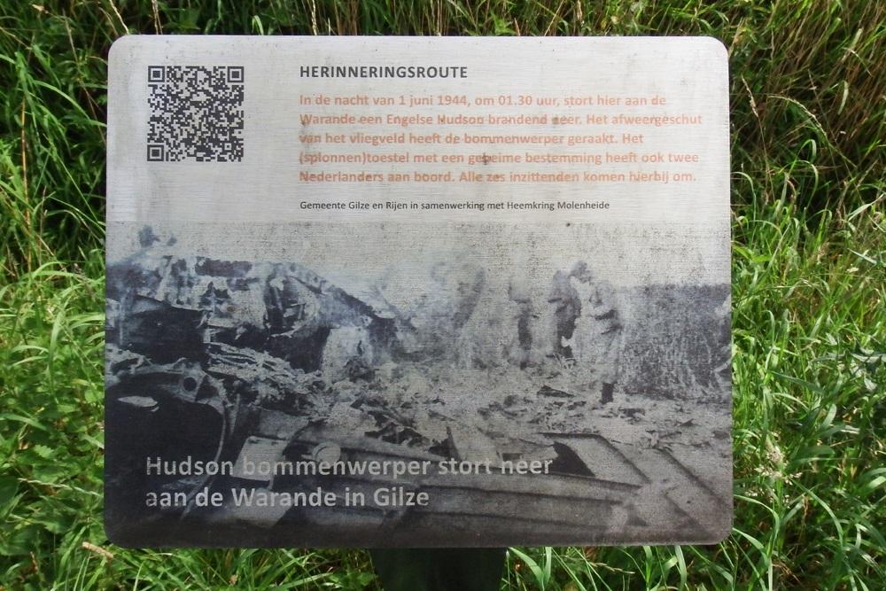 Herinneringsroute Tweede Wereldoorlog Hudson-Bommenwerper Neergestort aan de Warande in Gilze