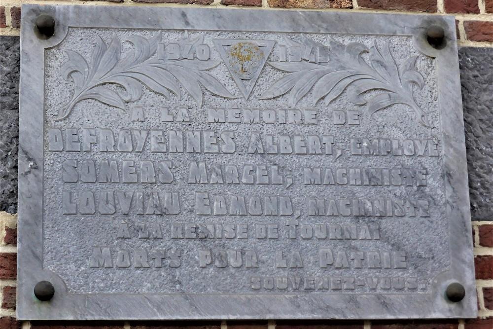 Memorial plaque Victims Railways Tournai