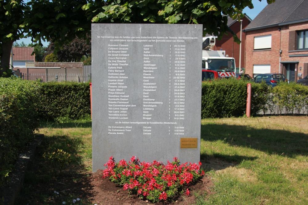 Monument Geëxecuteerde Verzetsstrijders Rieme