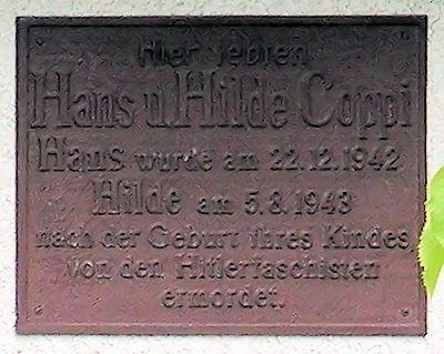 Plaque Hans and Hilde Coppi
