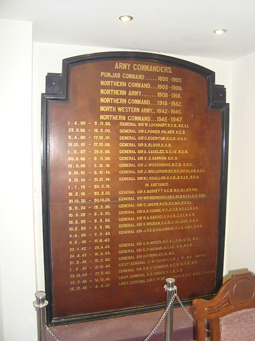 Plaque British Army Commanders