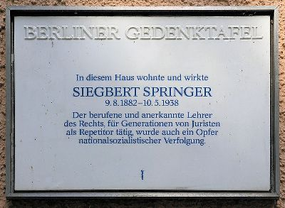 Plaquette Siegbert Springer