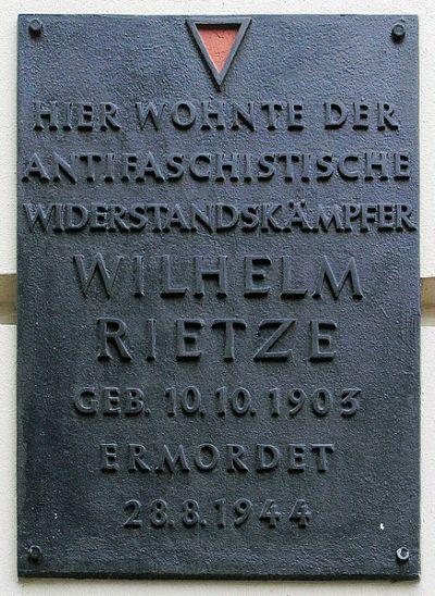Plaque Wilhelm Rietze