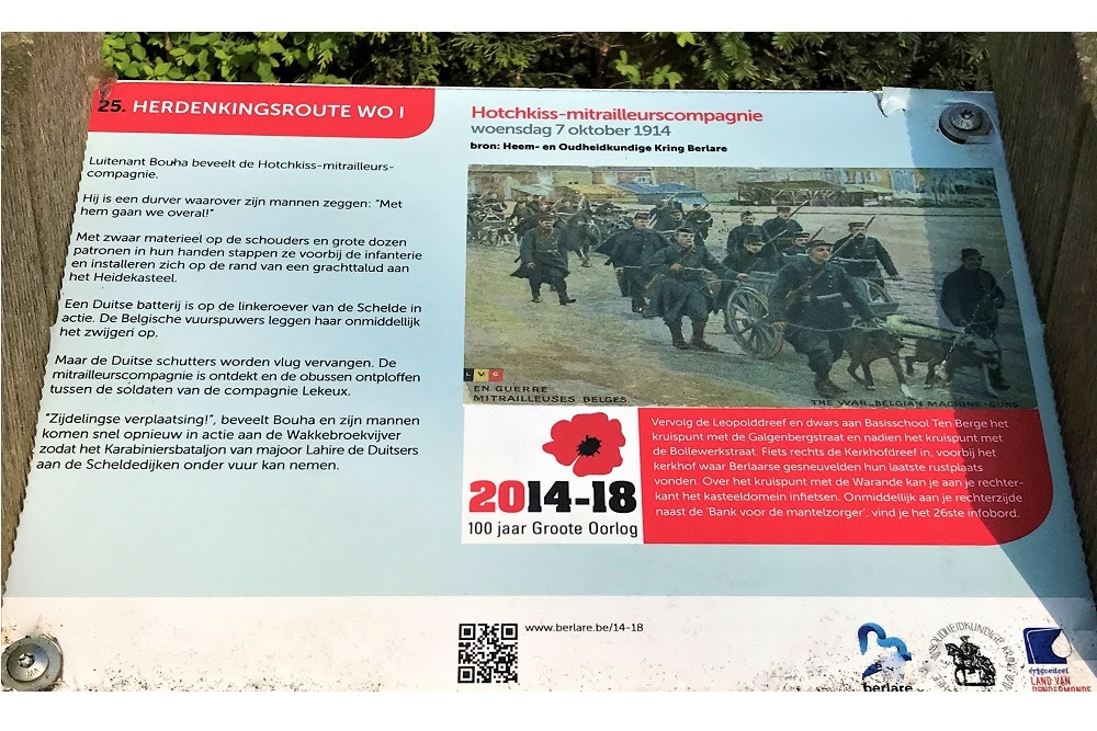 Herdenkingsroute 100 jaar Groote Oorlog - Informatiebord 25