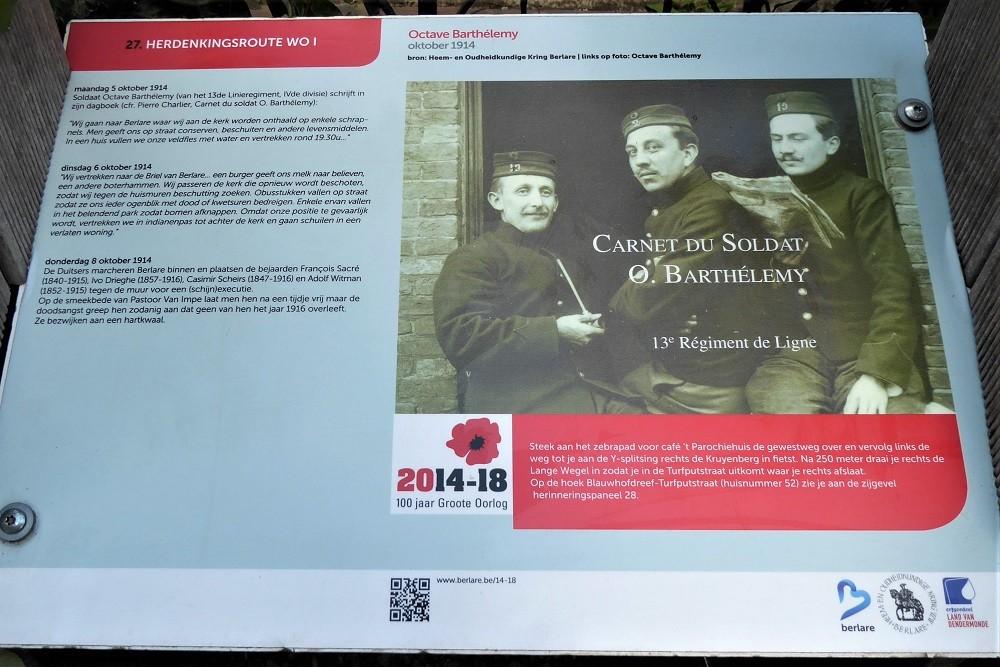 Herdenkingsroute 100 jaar Groote Oorlog - Informatiebord 27