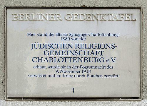 Plaque Synagogue Charlottenburg