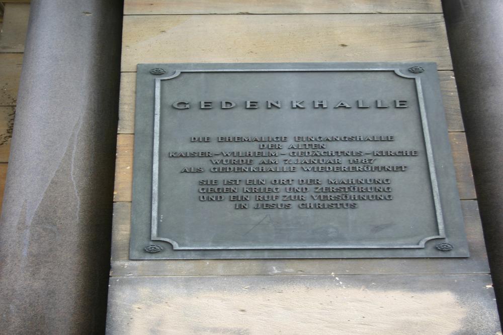 Plaque Kaiser-Wilhelm-Gedächtnis-Kirche