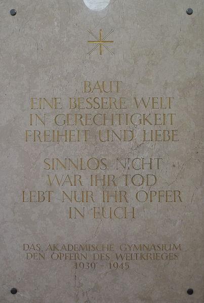 Monument Tweede Wereldoorlog Akademisches Gymnasium Graz